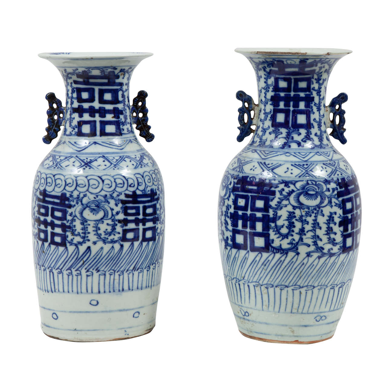 Pair Of 19th Century Chinese Blue And White Porcelain Vases For