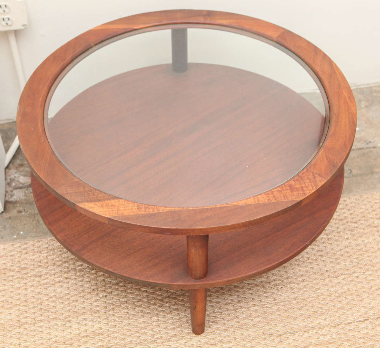 Vintage Round Glass-Topped Coffee Table At 1stdibs
