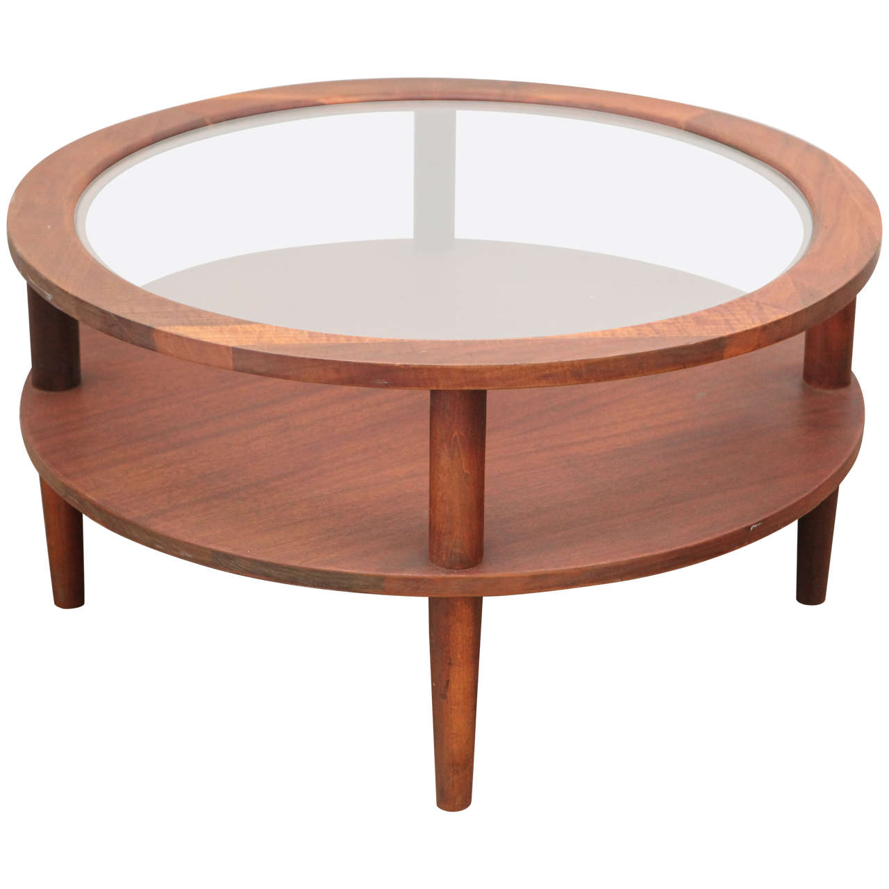 Vintage round glass topped coffee table at 1stdibs for Round glass coffee table top