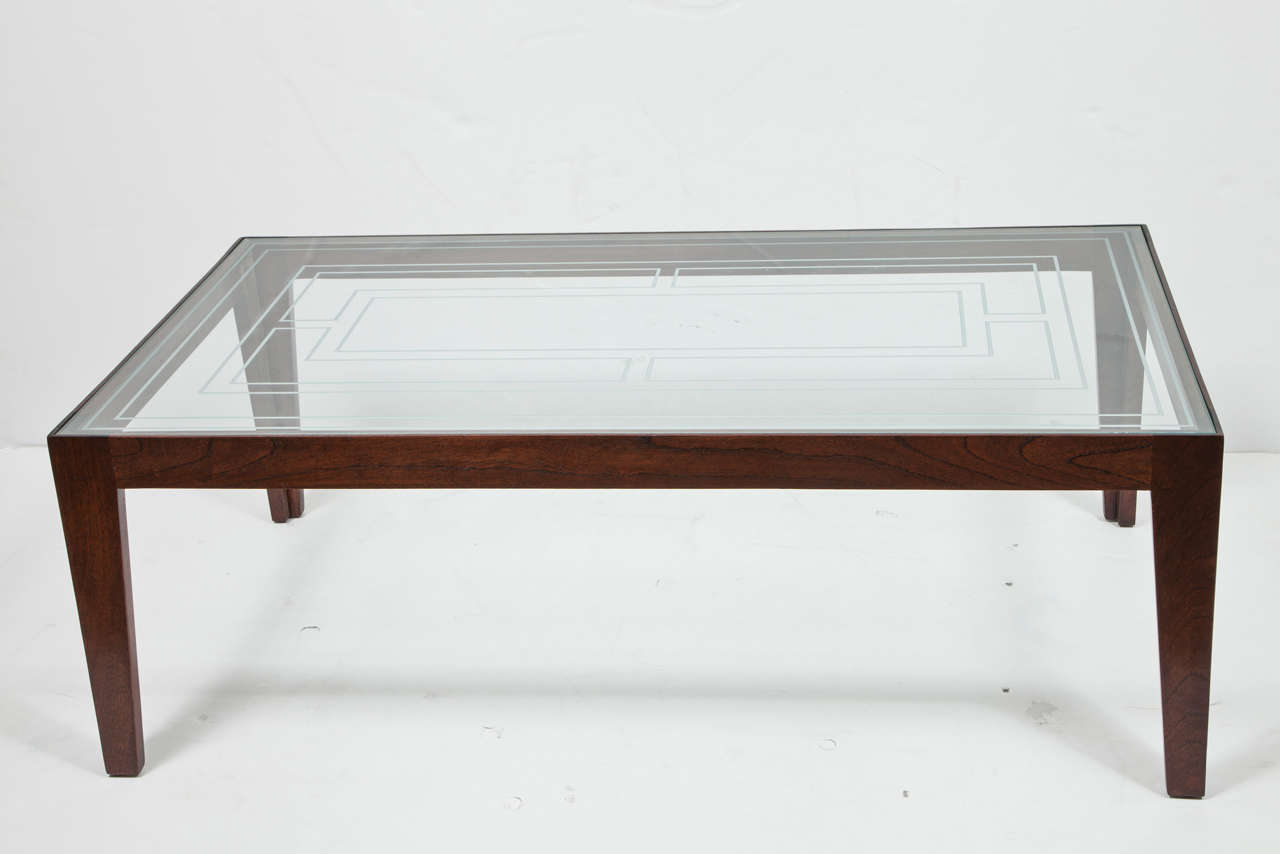 Mahogany Coffee Table With Etched Glass Top At 1stdibs