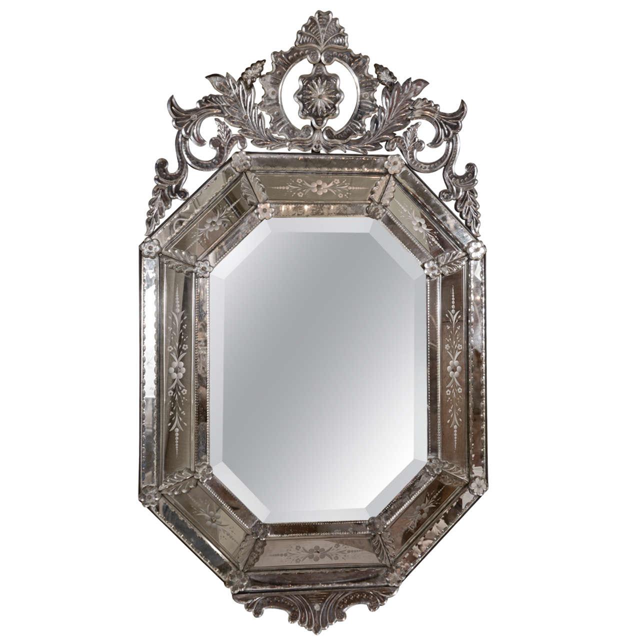 Octagonal venetian mirror at 1stdibs for Black venetian mirror