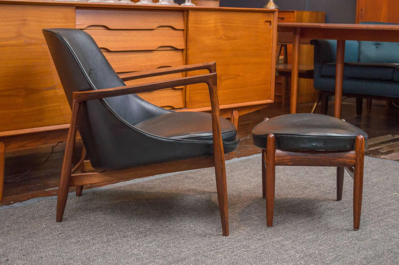 Ib Kofod-Larsen Elizabeth Lounge Chair and Ottoman 3