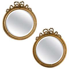 Pair of French Louis XVI Style Circular Mirrors