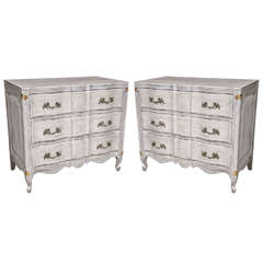 Pair of White Painted Louis XV Style Chests