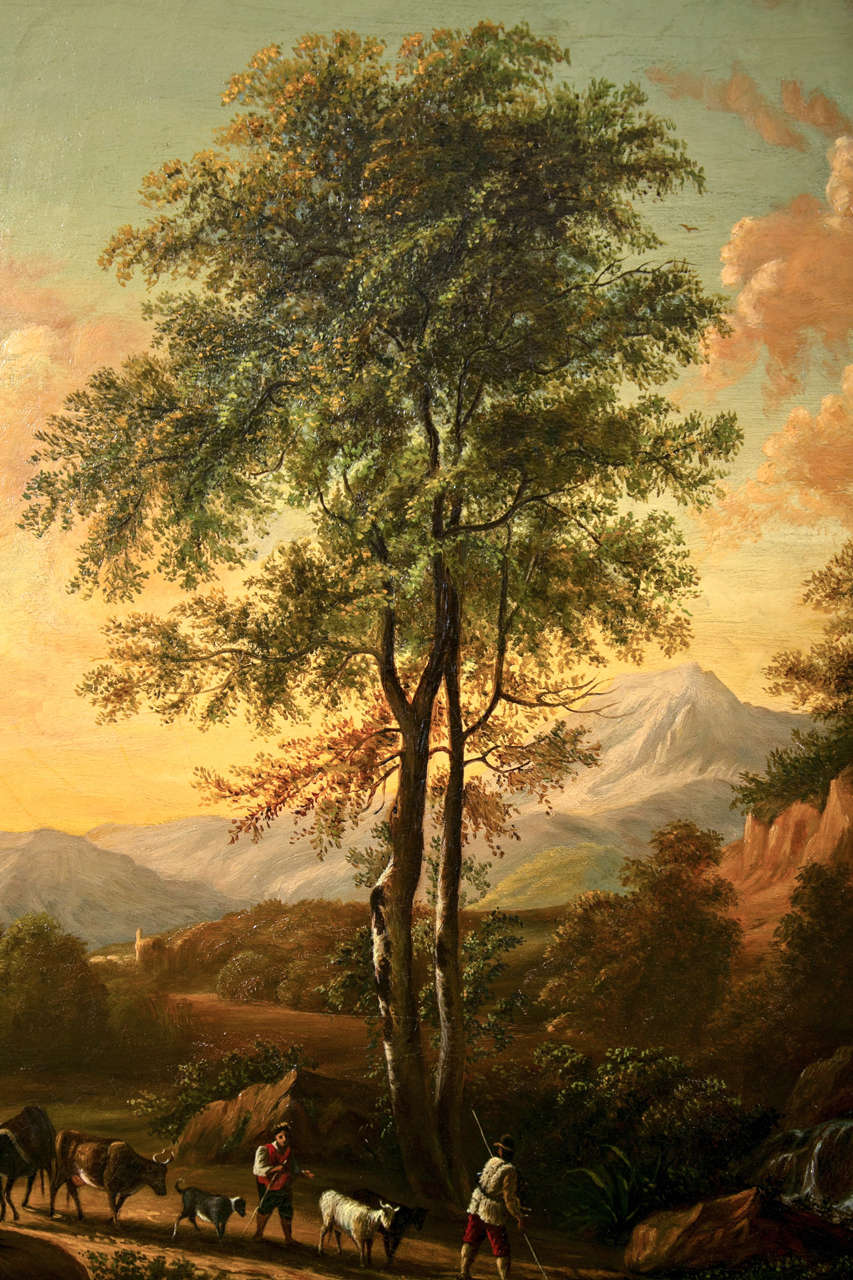 Landscape by Enrico Smith, American. Provenance, Shannon's fine Art Sept. 2001, lot #92, hammered price 4500. Acquired from a fine estate in CT. Dated and signed on the lower left. 1858. Mounted in a fine wooden carved and gilt frame.