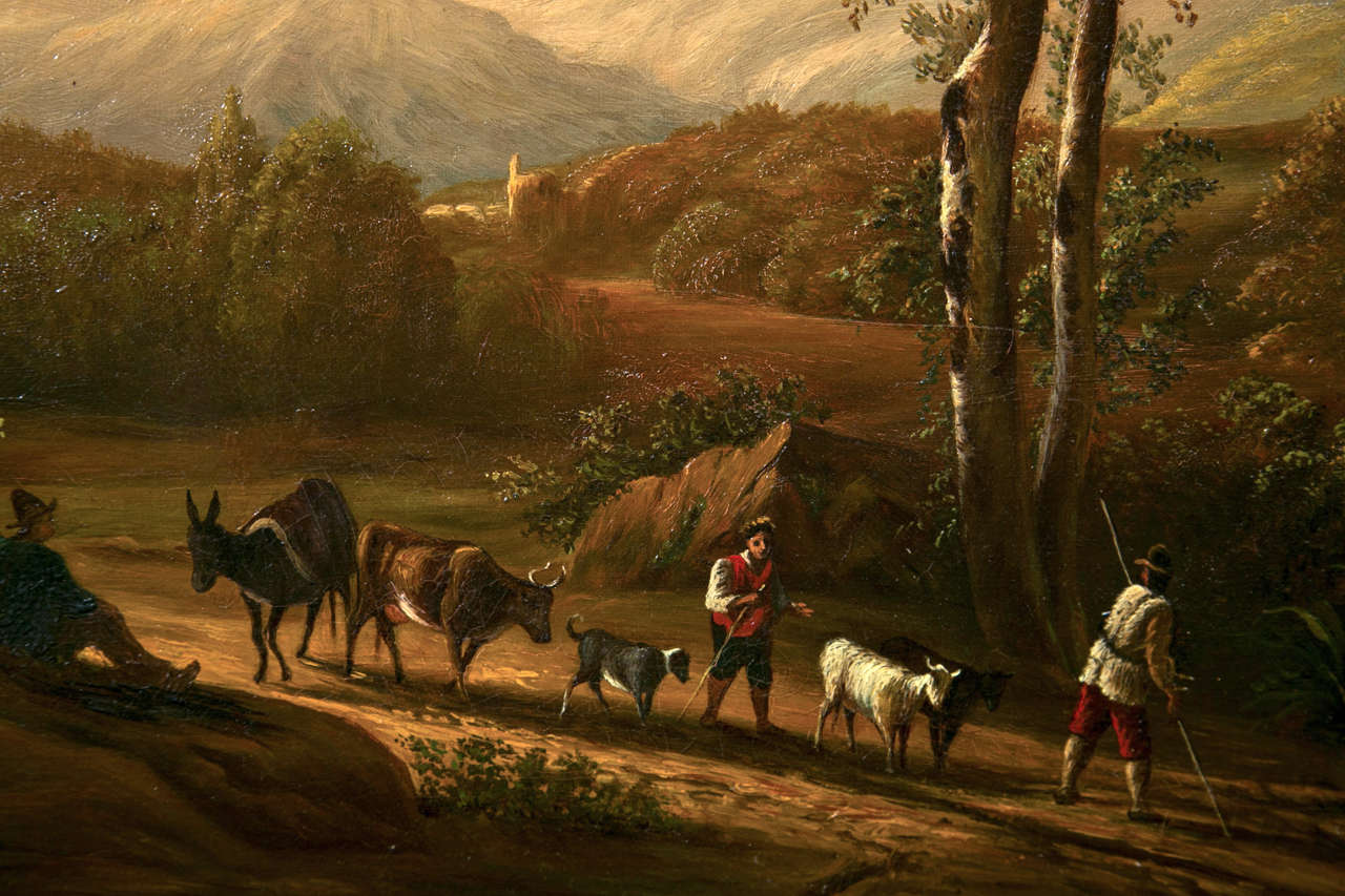 19th Century Oil on Canvas American by Enrico Smith In Good Condition For Sale In Stamford, CT