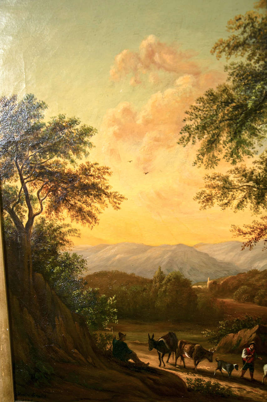 19th Century Oil on Canvas American by Enrico Smith For Sale 2