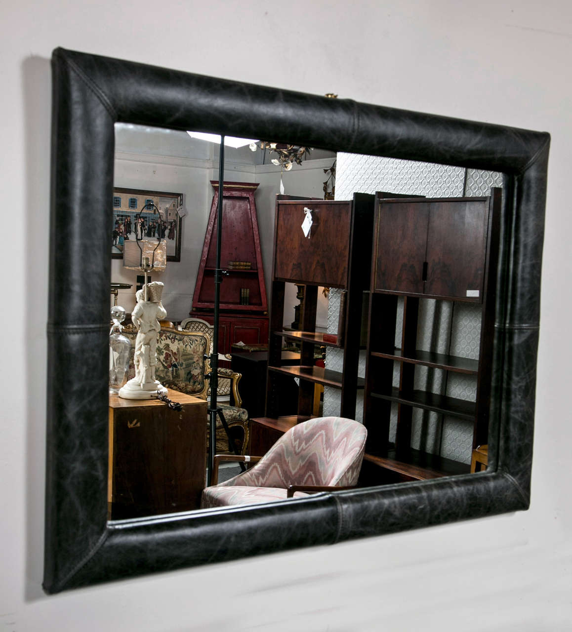 Mid-Century Decorated Leather Mirror In Good Condition In Stamford, CT