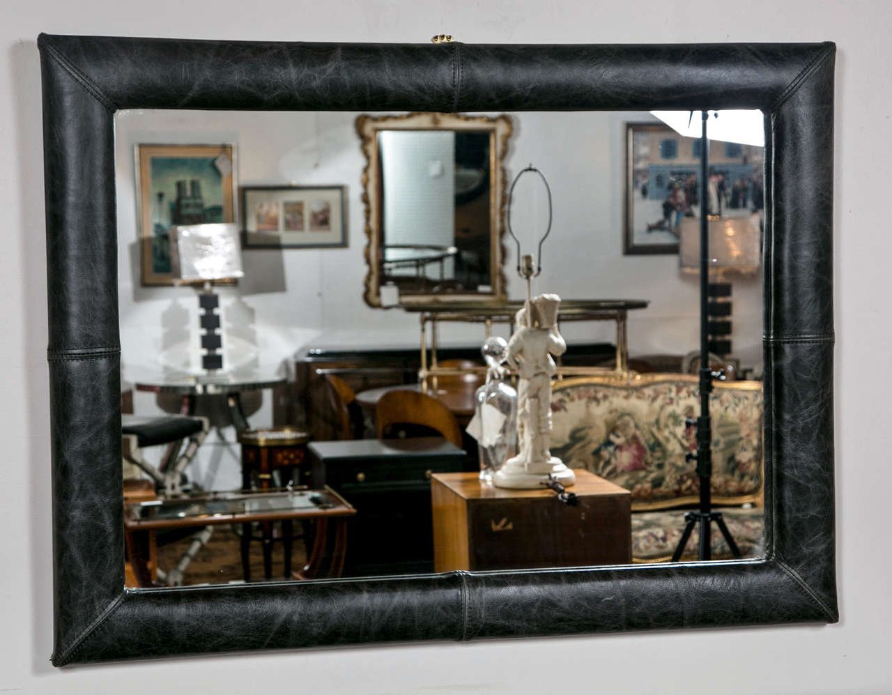 20th Century Mid-Century Decorated Leather Mirror