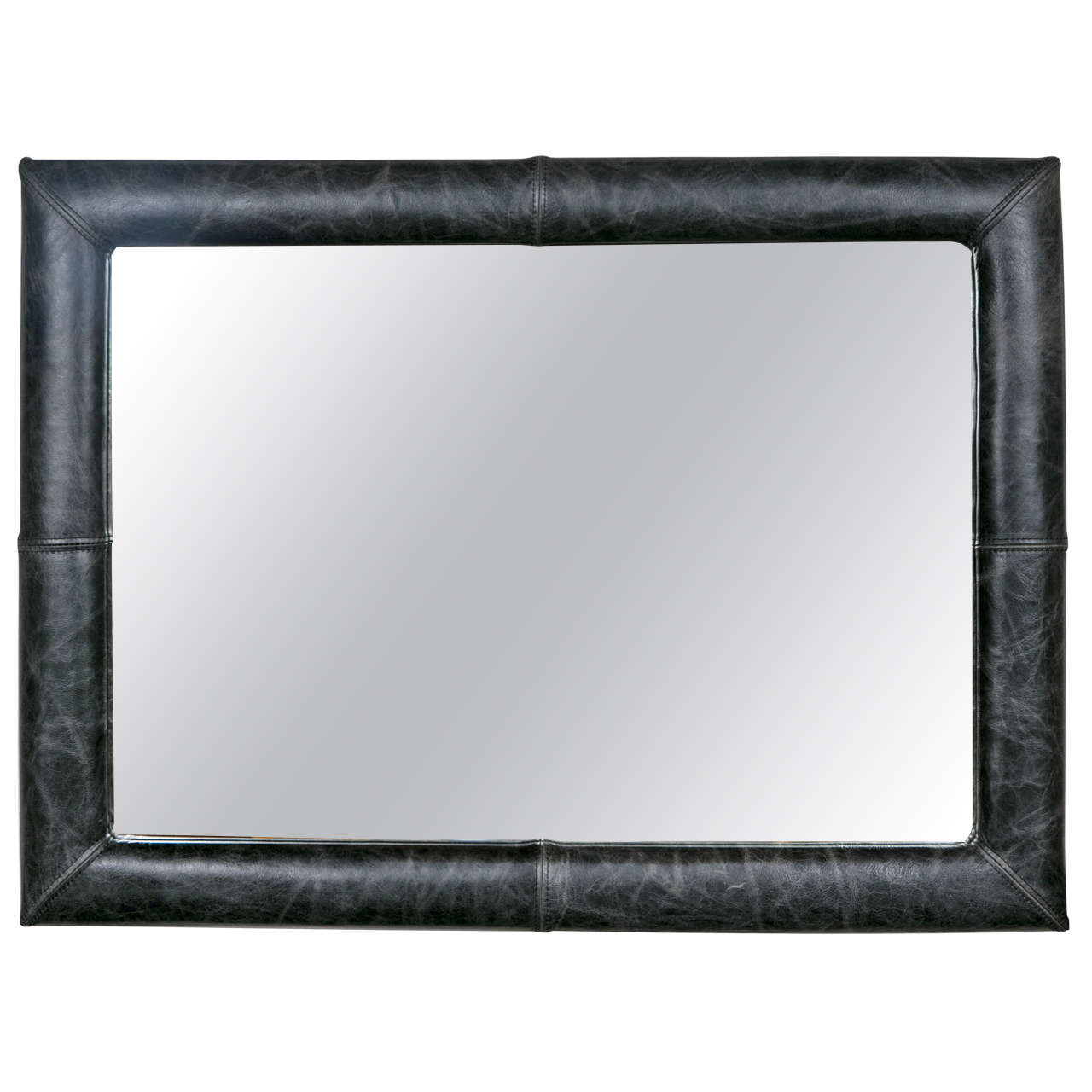 Mid-Century Decorated Leather Mirror
