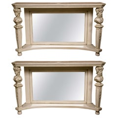 Pair of Marble-Top Painted Pier Console Tables