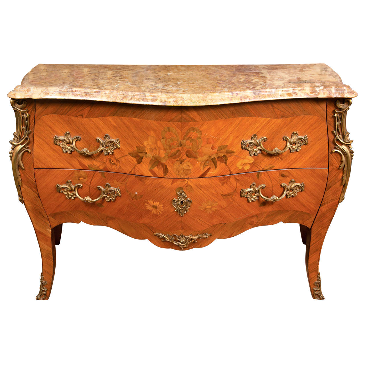 french louis xv style tulipwood bombe commode. Black Bedroom Furniture Sets. Home Design Ideas