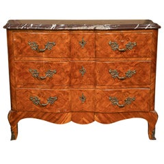 French Louis XV Style Tulipwood Commode
