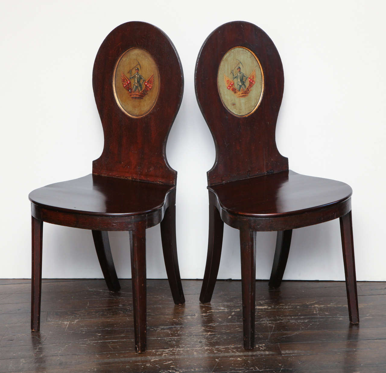 Pair of Early 19th Century, English Regency, Crested Hall Chairs in Mahogany