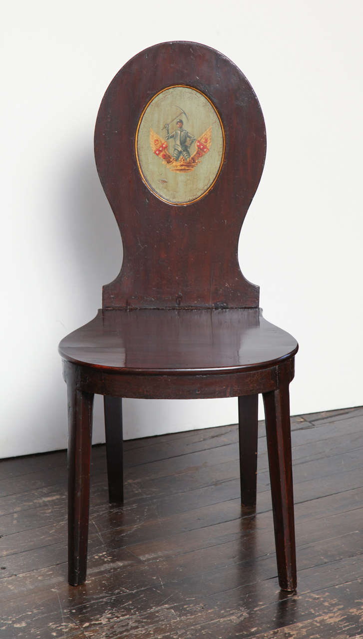 Pair of Early 19th Century, English Regency, Mahogany Hall Chairs  In Good Condition For Sale In New York, NY