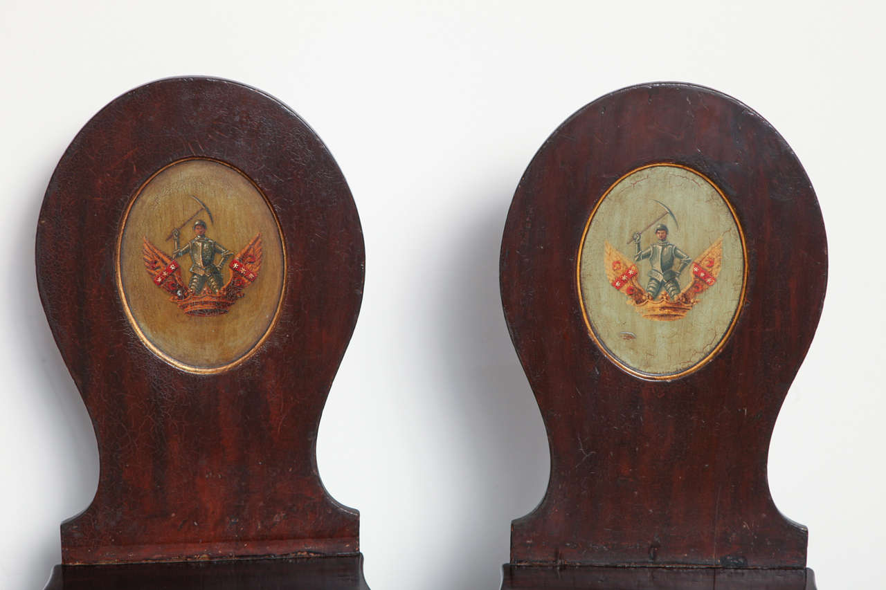 Pair of Early 19th Century, English Regency, Mahogany Hall Chairs  For Sale 1