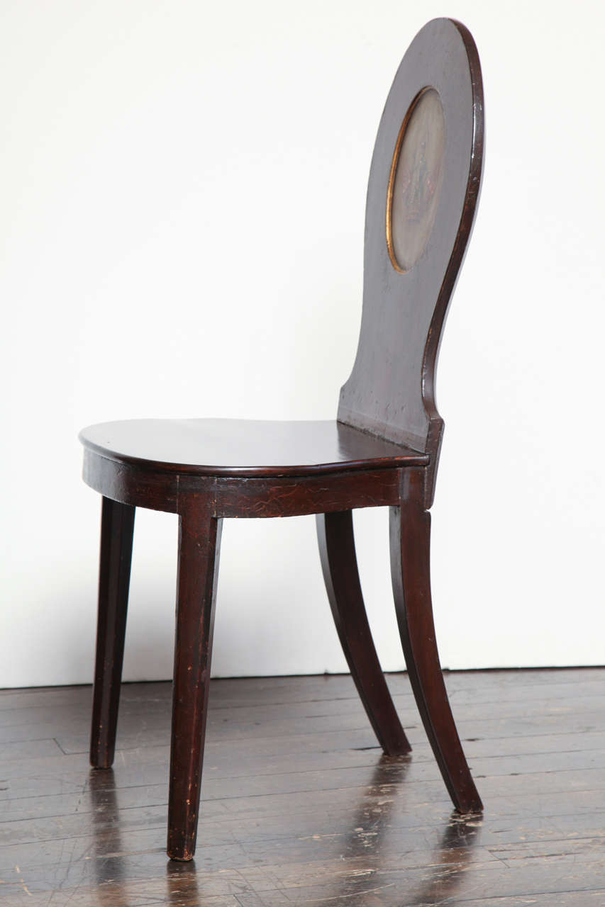 Pair of Early 19th Century, English Regency, Mahogany Hall Chairs  For Sale 4