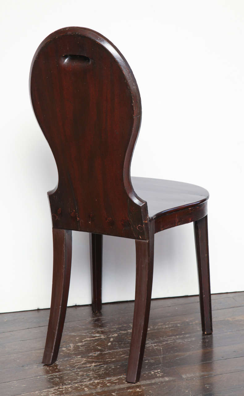 Pair of Early 19th Century, English Regency, Mahogany Hall Chairs  For Sale 6