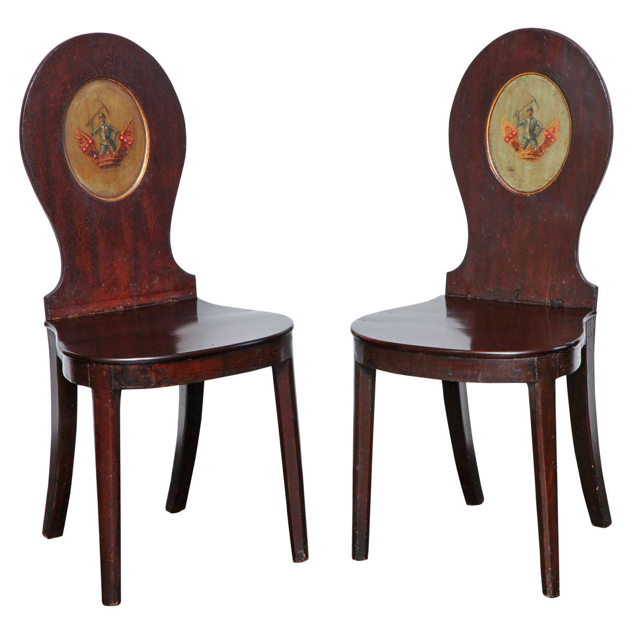 Superbe Pair Of Early 19th Century, English Regency, Mahogany Hall Chairs For Sale