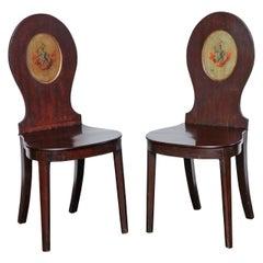 Pair of Early 19th Century, English Regency, Mahogany Hall Chairs