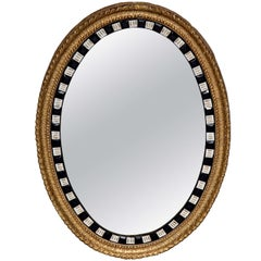 19th Century Irish Lozenge Mirror with Oval Looking Glass in a Gilded Frame