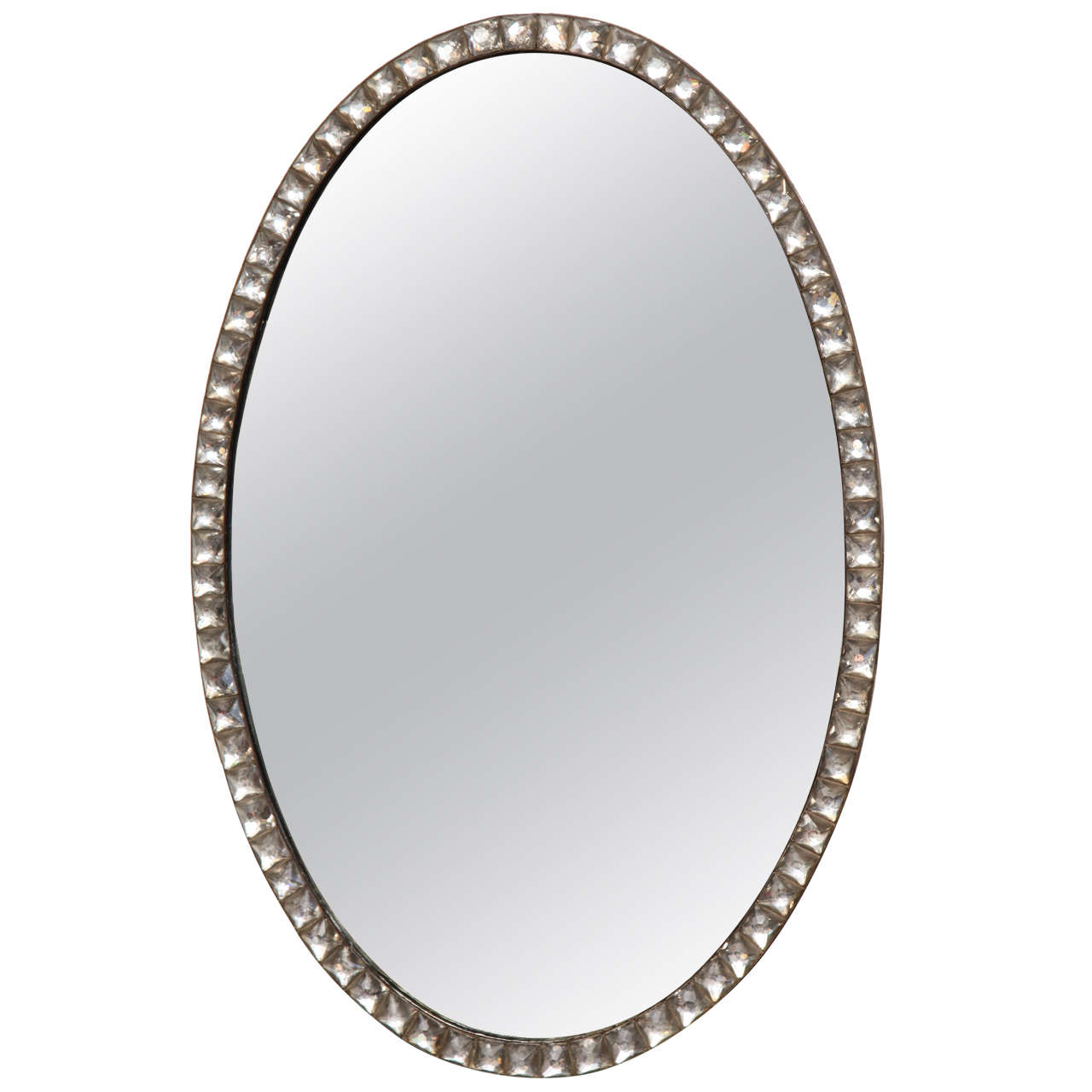 Unusual 19th Century Irish Regency, Clear Lozenge, Oval Mirror
