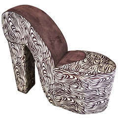 Mid-Century Modern Slipper Chair with Zebra Stripes