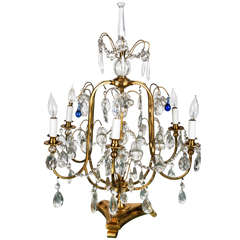 Bronze and Crystal Table Chandelier with Cobalt Blue Teardrops