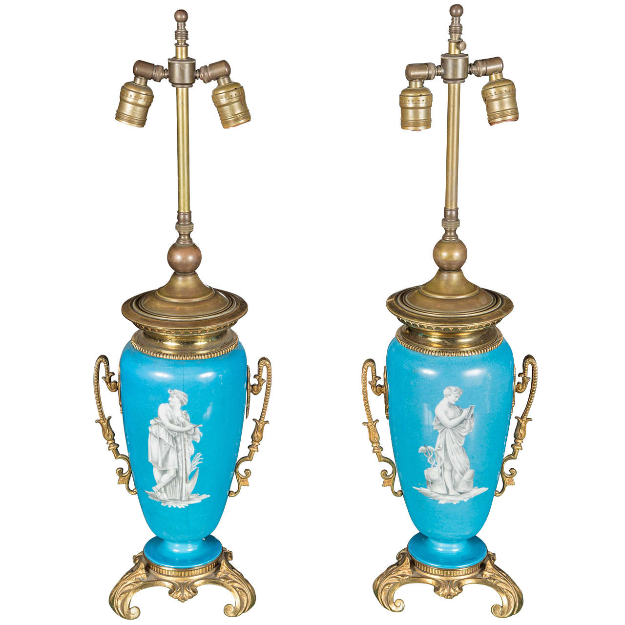 Pair of Turquoise Vase Lamps with Bronze Accents