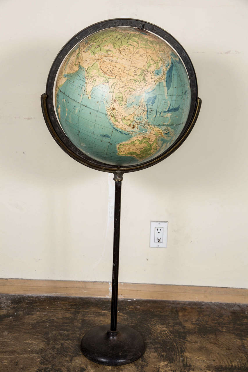 Old Steel Globe on Stand 9