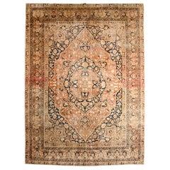 Persian Haji Jalili Tabriz Carpet with Wool Pile and Natural Dyes, circa 1880
