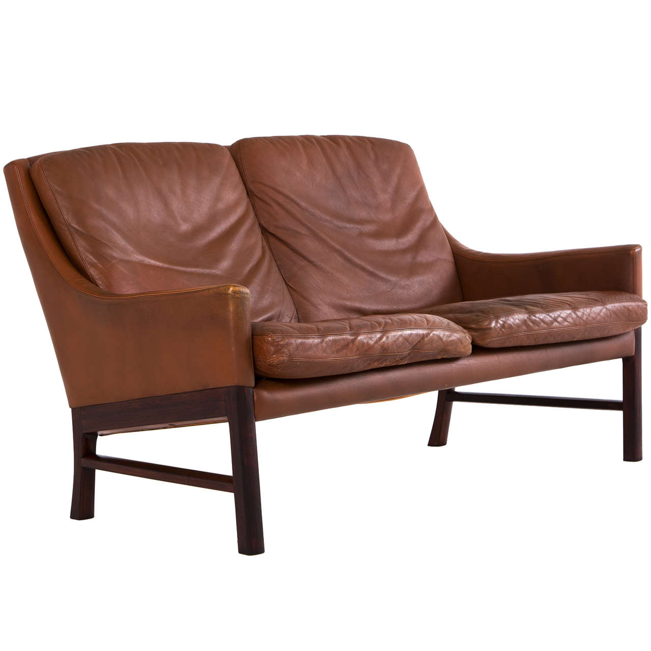 danish two seater sofa in original cognac leather for sale at 1stdibs. Black Bedroom Furniture Sets. Home Design Ideas
