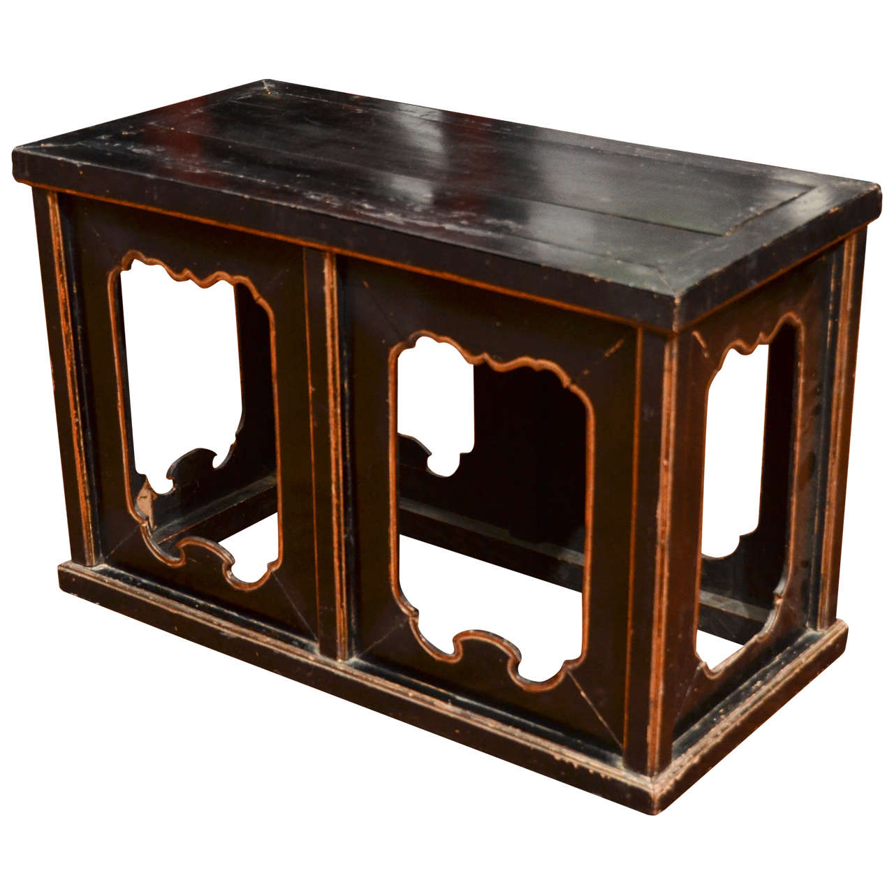 Mid to Late 19th Century Q'ing Dynasty Black Lacquered Bench