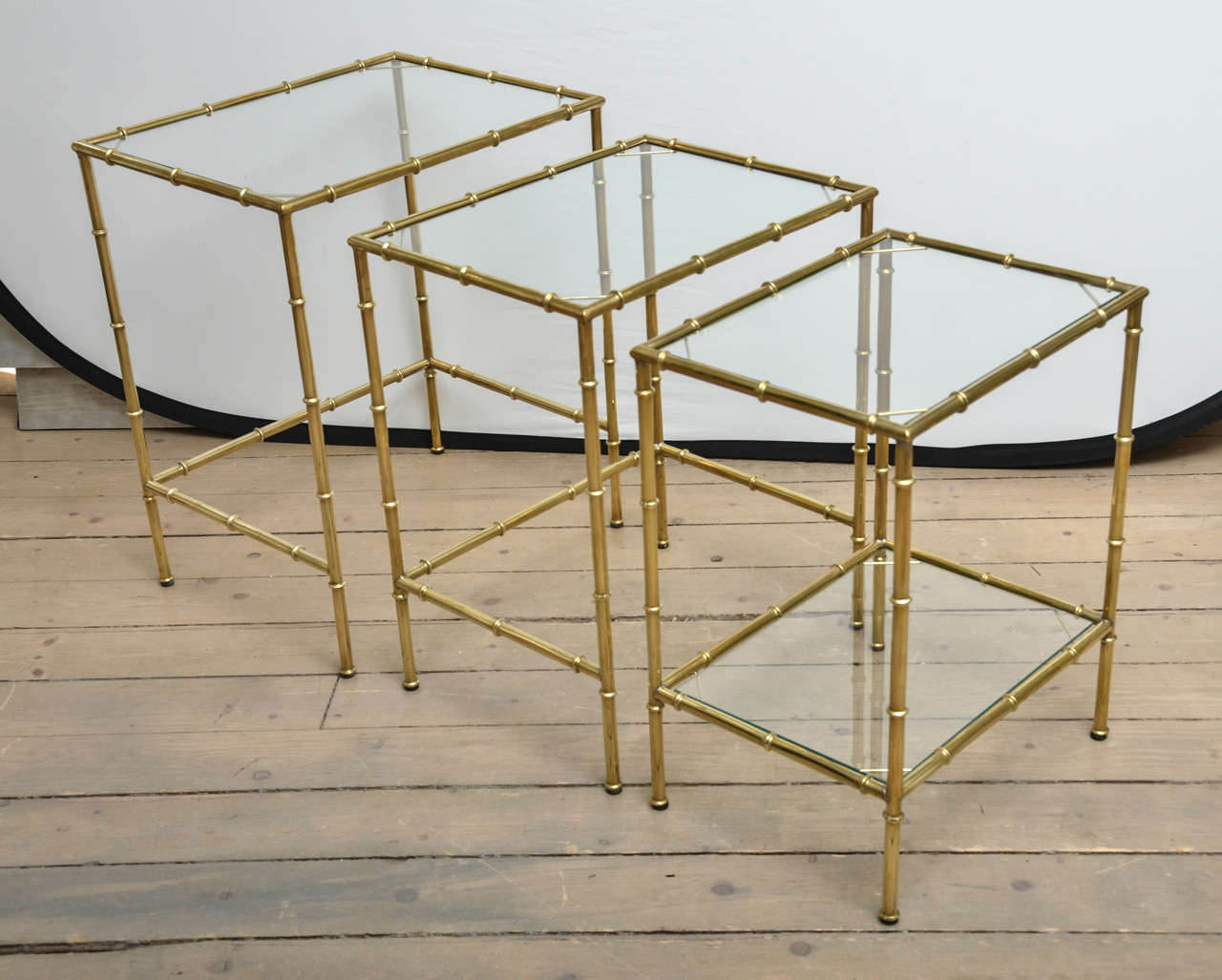 Set Of Three Brass And Glass Faux Bamboo Nesting Tables 3