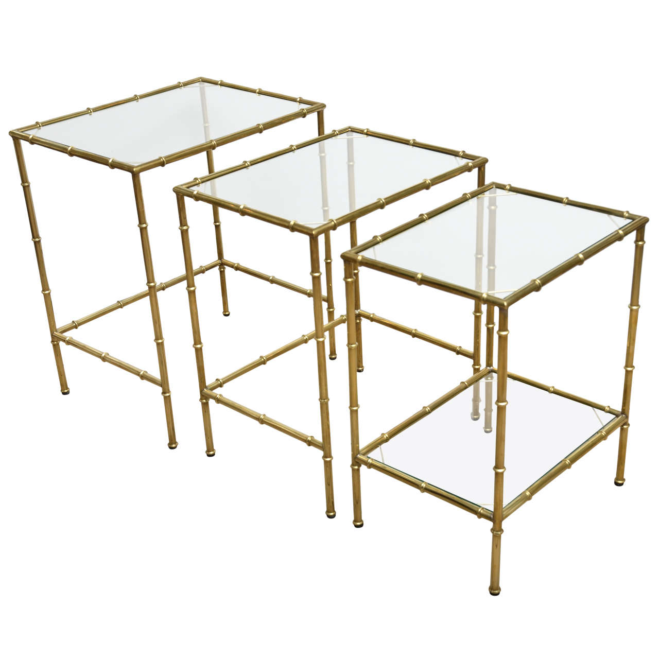 set of three brass and glass faux bamboo nesting tables for sale  - set of three brass and glass faux bamboo nesting tables