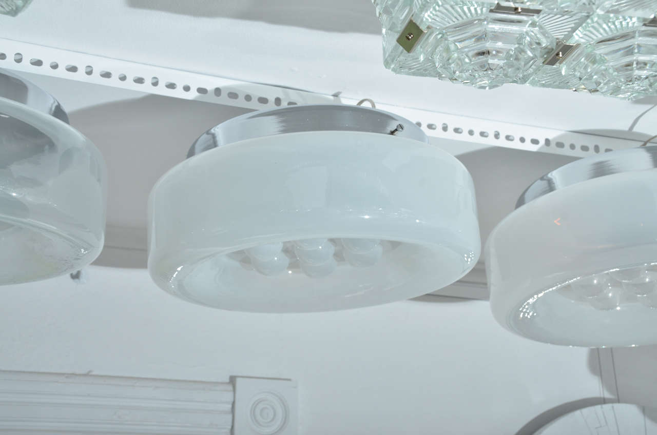 Lightly Frosted Flush Mount Fixture With Reverse Dimple