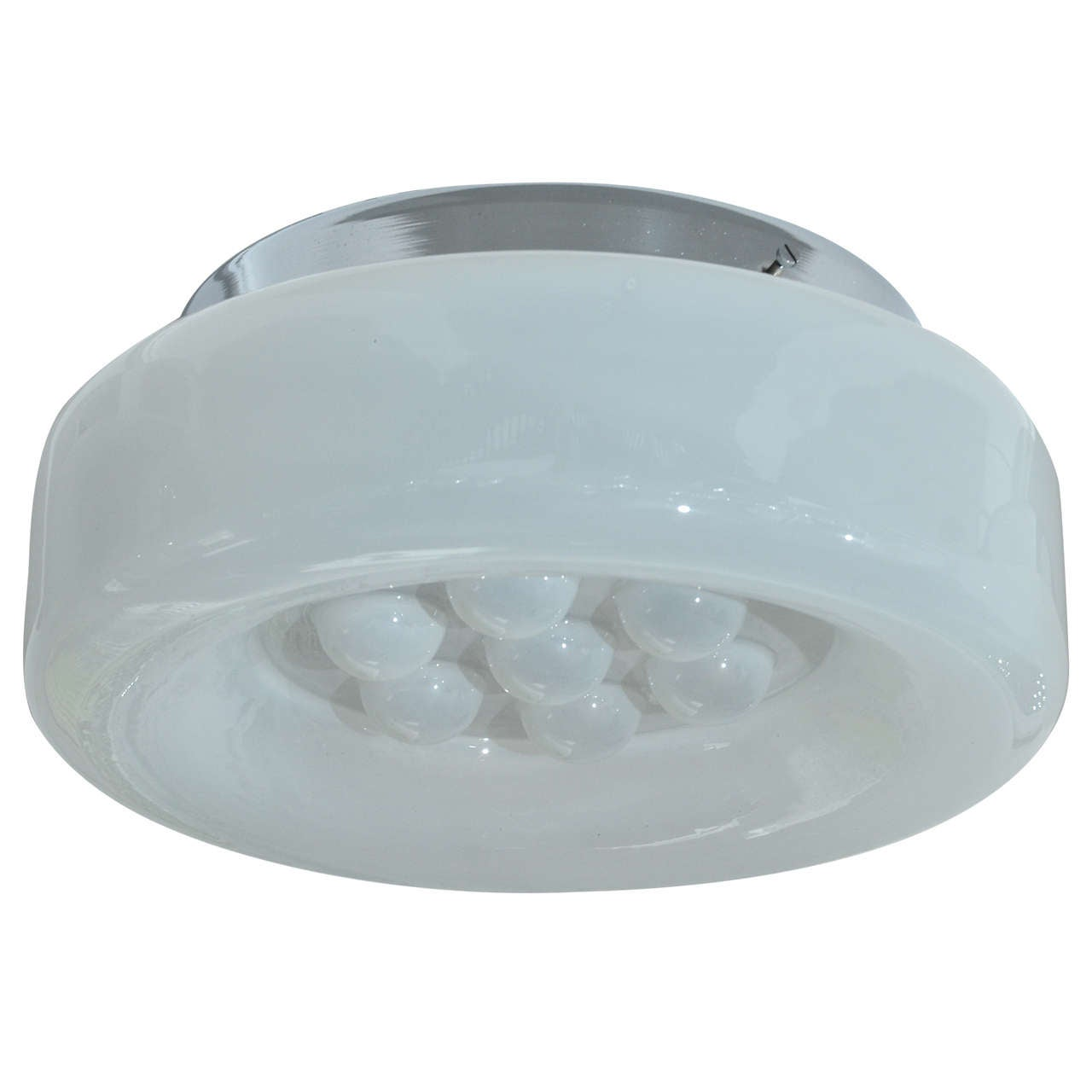 Lightly Frosted Flush Mount Fixture with Reverse Dimple Detail by Mazzega