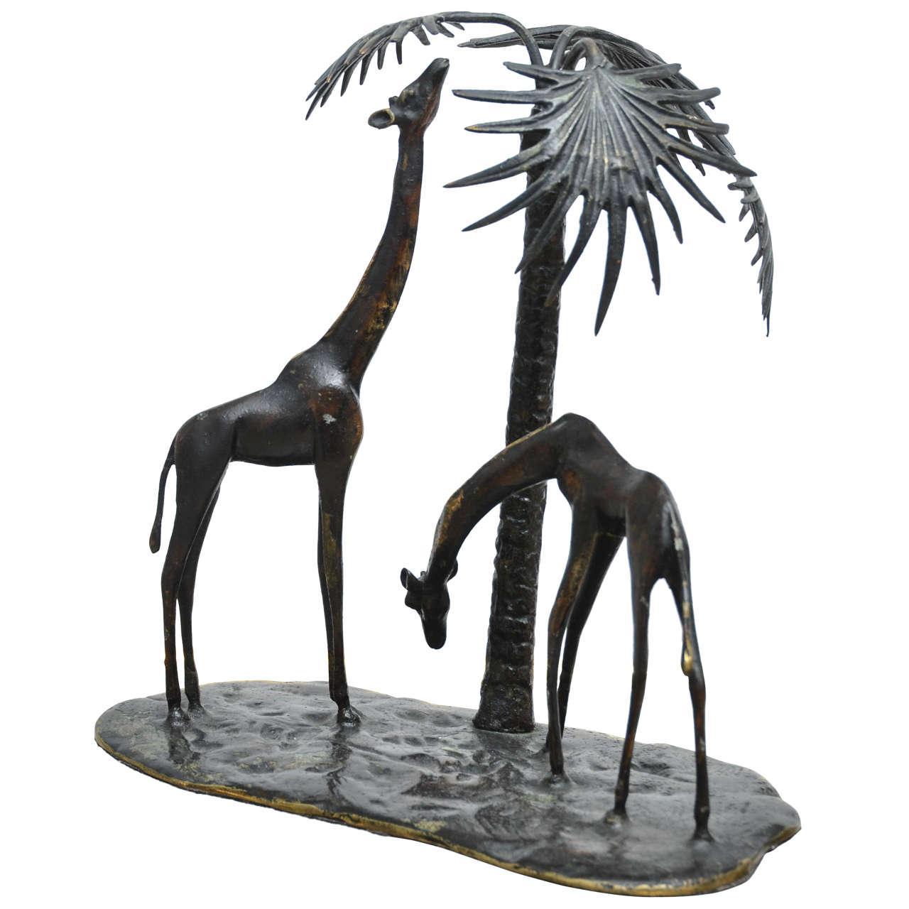 Sculpted Bronze Giraffe Vignette