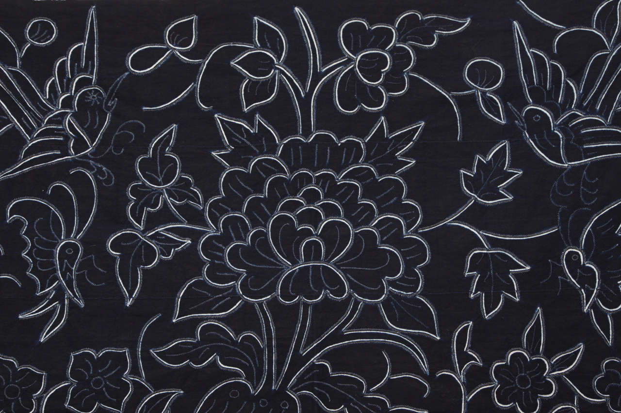 Mid-Century Modern Indigo Textile with Decorative Flowers by Chinese Bouyei People, circa 1980 For Sale