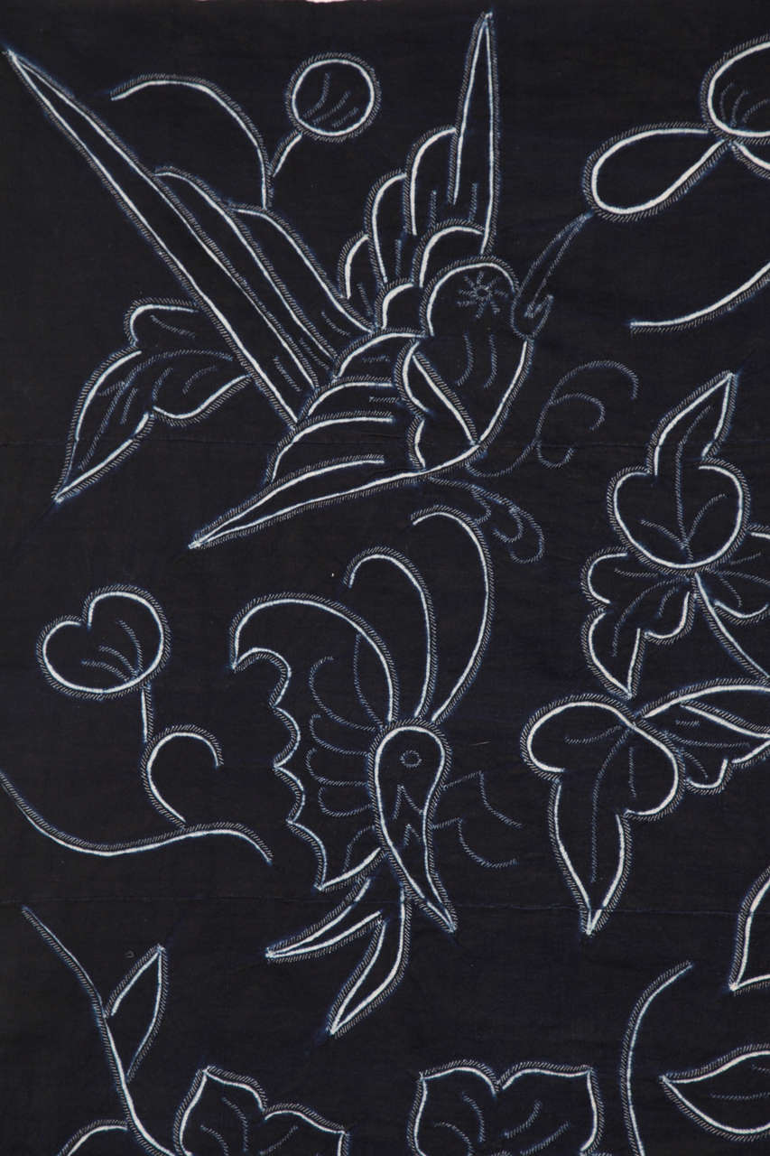 Indigo Textile with Decorative Flowers by Chinese Bouyei People, circa 1980 In Good Condition For Sale In New York, NY