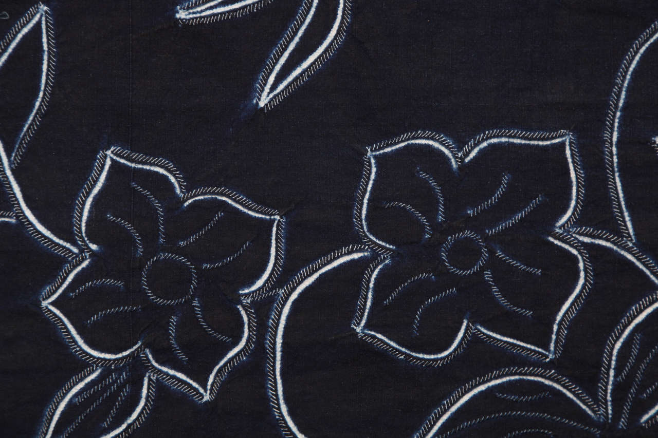 Cotton Indigo Textile with Decorative Flowers by Chinese Bouyei People, circa 1980 For Sale