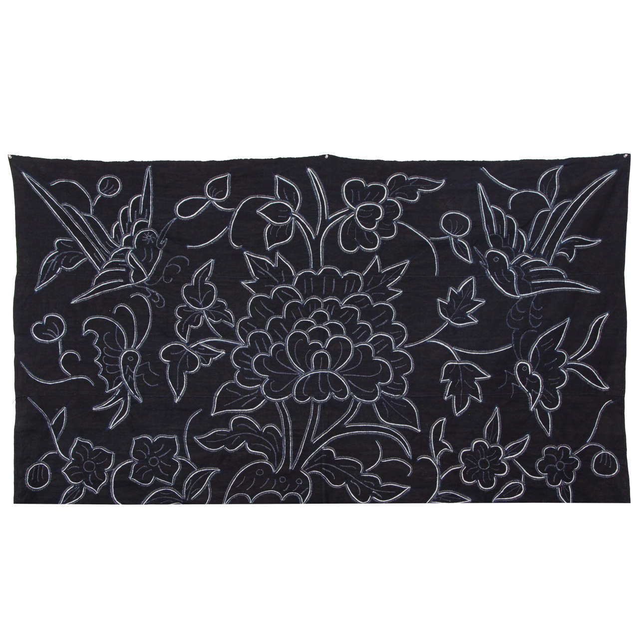 Indigo Textile with Decorative Flowers by Chinese Bouyei People, circa 1980