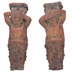 18th Century French Terra Cotta Bracket or Corbels