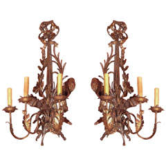 19th Century Pair of Italian Gold Painted Sconces