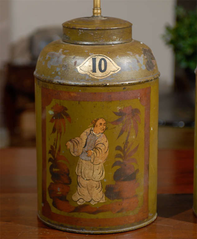 Pair Of Antique Painted Tea Tins Lamps At 1stdibs