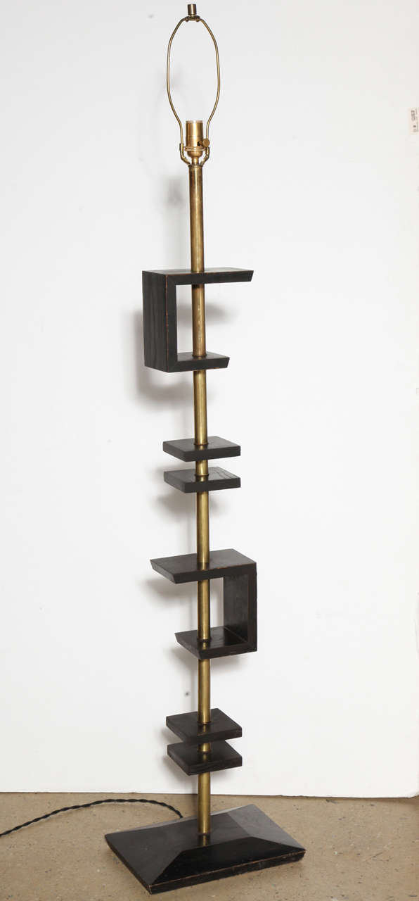 Late 1940s Black Lacquer and Brass Floor Lamp, Attributed to James Mont 2