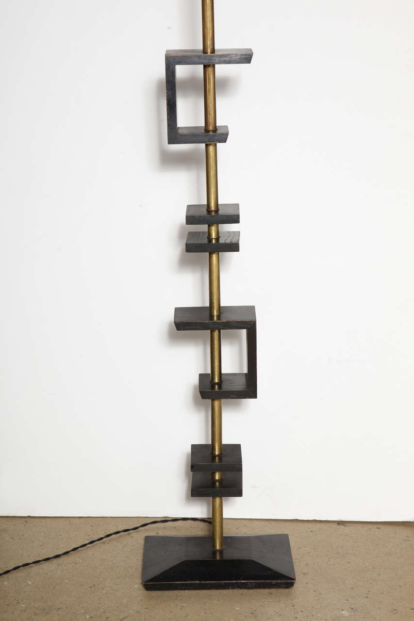 Late 1940s Black Lacquer and Brass Floor Lamp, Attributed to James Mont 3