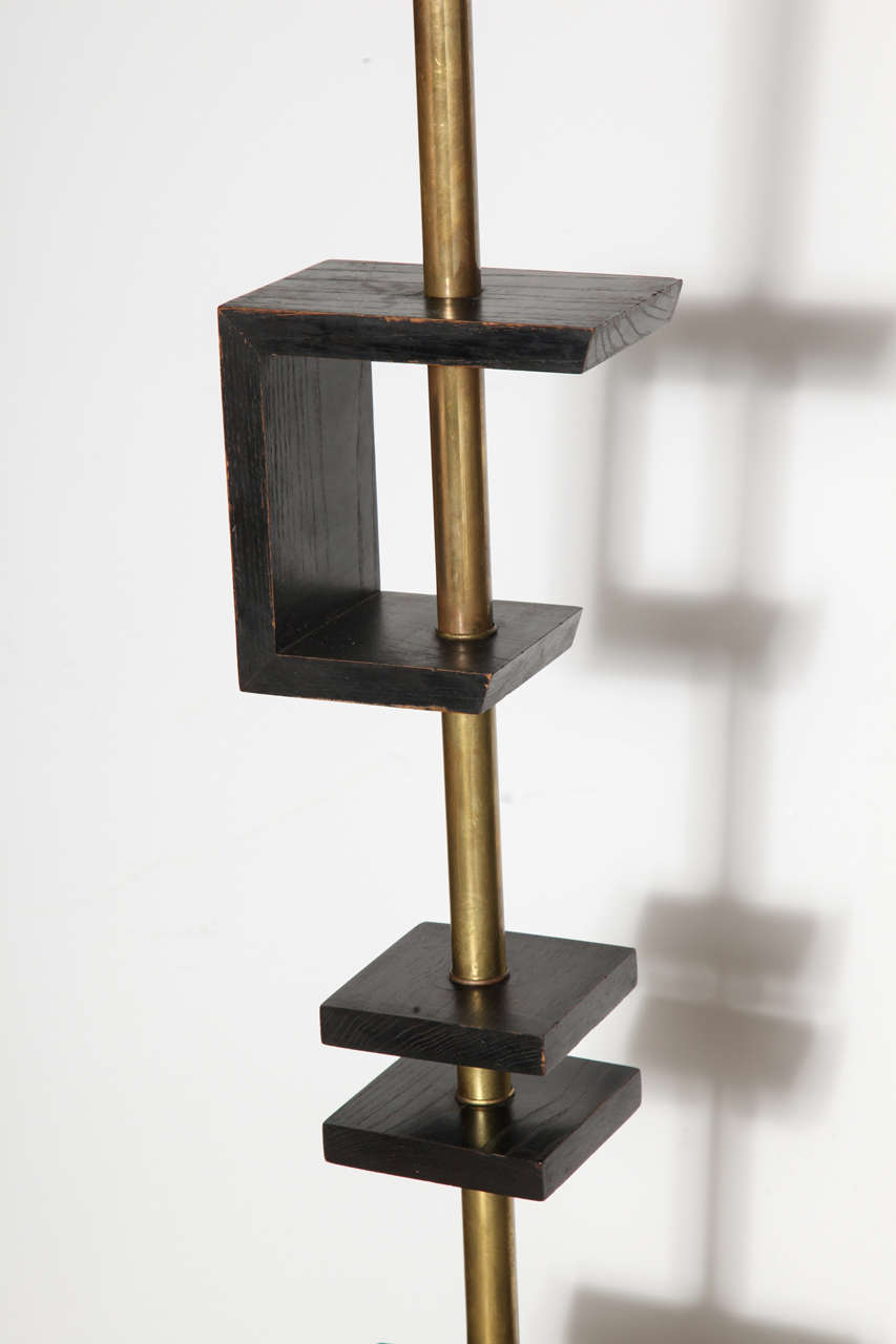 Late 1940s Black Lacquer and Brass Floor Lamp, Attributed to James Mont 4