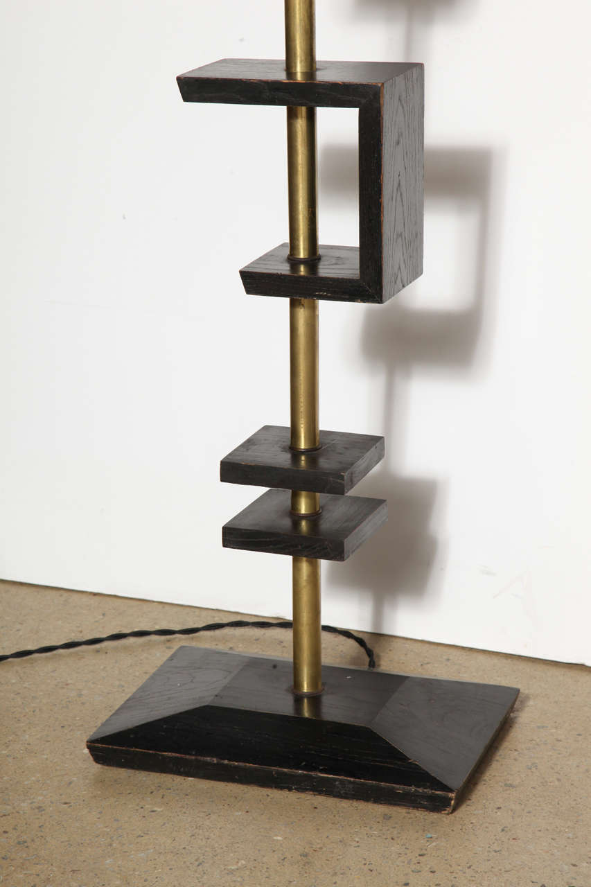 Late 1940s Black Lacquer and Brass Floor Lamp, Attributed to James Mont 5