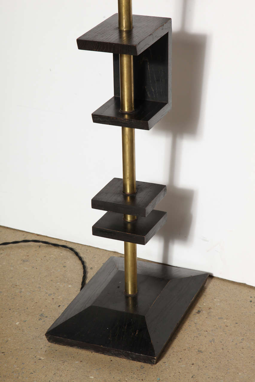 Late 1940s Black Lacquer and Brass Floor Lamp, Attributed to James Mont 7